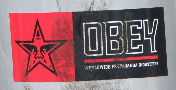 OBEY sticker Philadelphia 2014 July wordwide propaganda industries