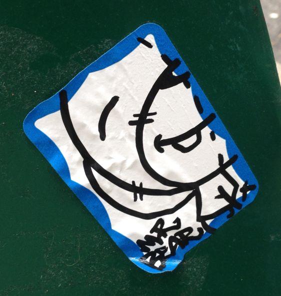 sticker Mr Bear Smile 2014 July Philadelphia street-art