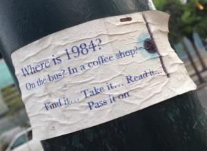 sticker Where is 1984 Philadelphia 2014 July street-art Orwell politics