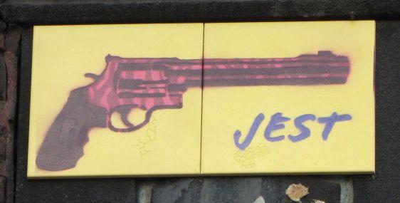 tile Jest revolver June 2014 Amsterdam Spuistraat pistol gun