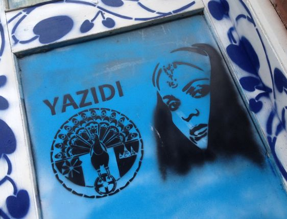 Yazidi graffiti Amsterdam Cntr 2015 Feb Holland ISIS Yezidi Kurds