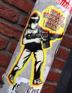 sticker Amsterdam machinegun boy Braap firearm 2013 September