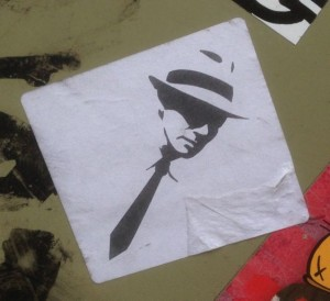 Sticker gangster January 2015 Amsterdam Center crime tie misdaad