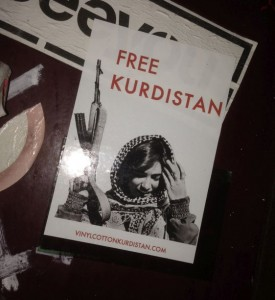 sticker Free Kurdistan Amsterdam cener 2014 October vinyl gun girl