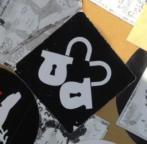 sticker 2014 May Amsterdam Center love locks