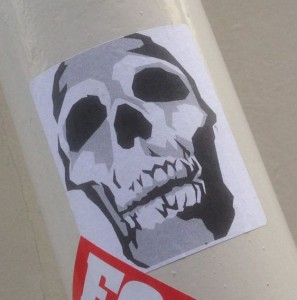 Sticker skull January 2015 Amsterdam Center schedel death