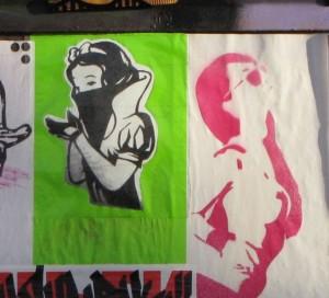 sticker Snow White Amsterdam NDSM 2015 January girl islam pray veil