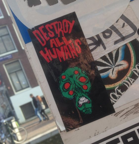 sticker destroy all humans 2015 February Amsterdam skull terror