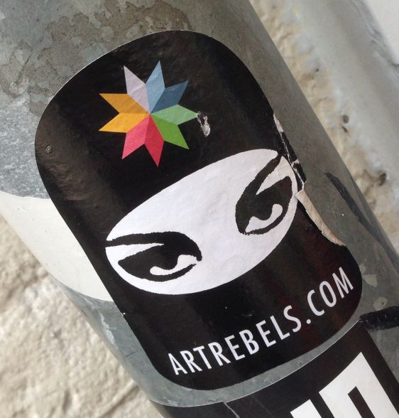 sticker ArtRebels Amsterdam March 2015 girl islam niqab
